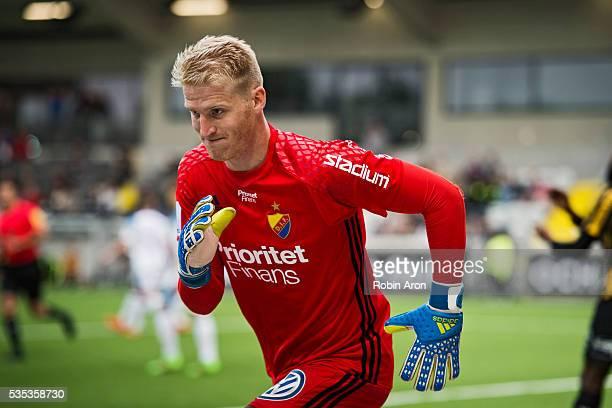 Hampus Nilsson goalkeeper of Djurgardens IF during the Allsvenskan match between BK Hacken and Djurgardens IF at Bravida Arena on May 29 2016 in...
