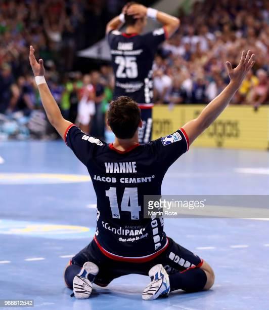 Hampus Wanne of FlensburgHandewitt celebrates winning the german championship after the DKB HBL Bundesliga match between SG FlensburgHandewitt and...