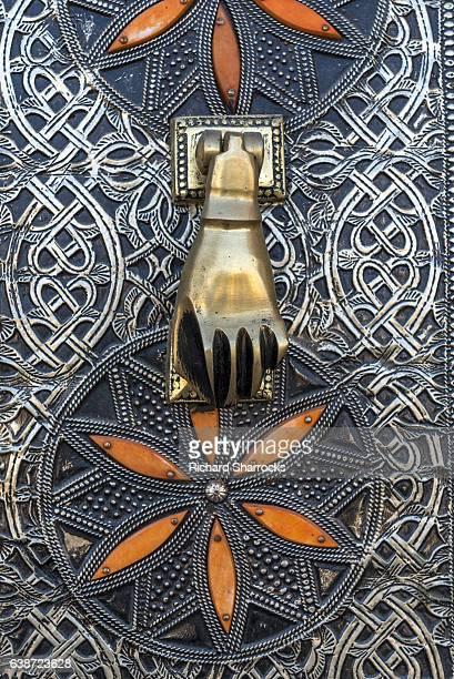 hamsa door knocker - hand of fatima stock photos and pictures