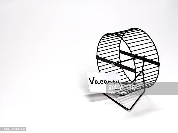 Hamster wheel with 'vacancy' sign, close-up