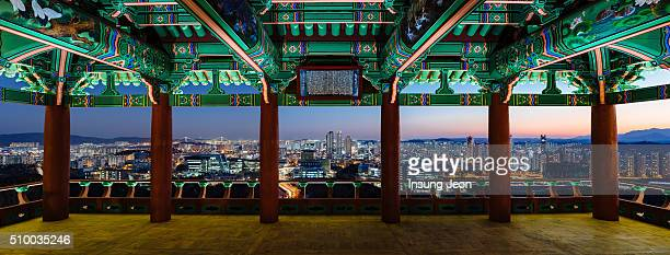 hamwolru pavilion at night - south korea stock pictures, royalty-free photos & images