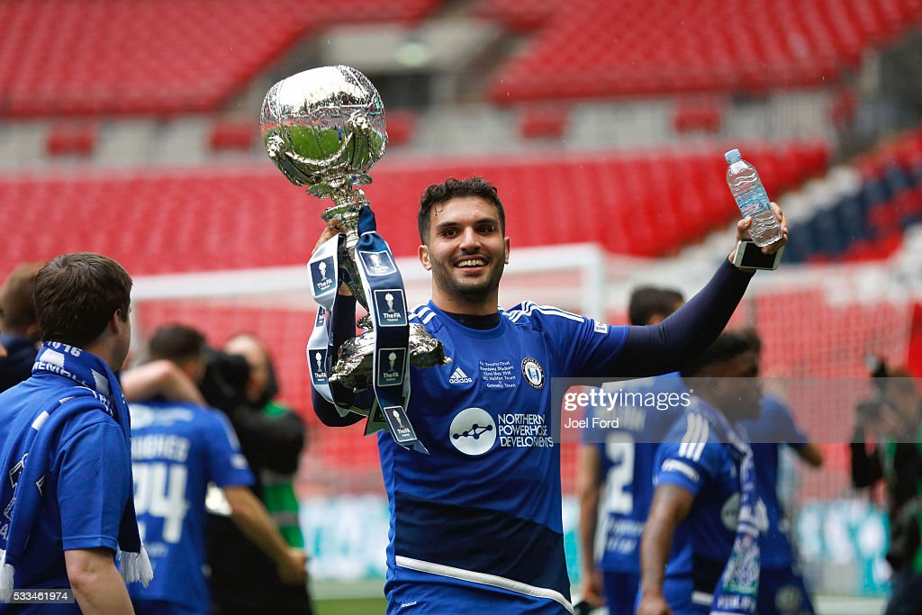 Hamza Bencherif of Halifax Town after winning the FA Trophy Final match between Grimsby Town FC v FC Halifax Town at Wembley Stadium on May 22, 2016 in London, England.