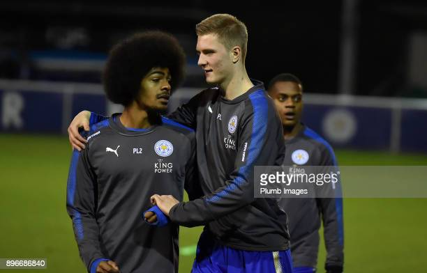 Hamza Choudhury and Josh Knight of Leicester City ahead of the Premier League 2 match between Leicester City and Barnsley at Holmes Park on December...