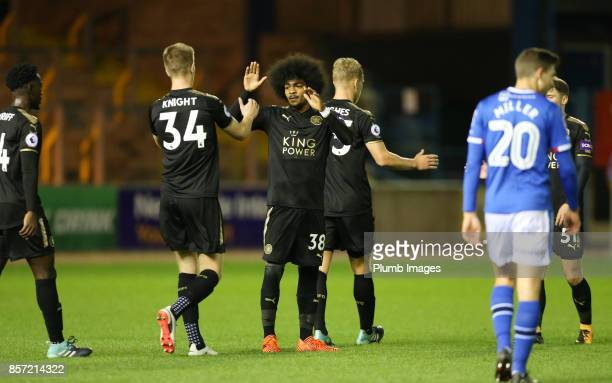 Hamza Choudhury and Josh Knight of Leicester City celebrate after winning the EFL Checkatrade Trophy tie between Carlisle United and Leicester City...