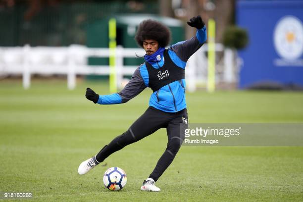 Hamza Choudhury during the Leicester City training session at Belvoir Drive Training Complex on February 14 2018 in Leicester United Kingdom