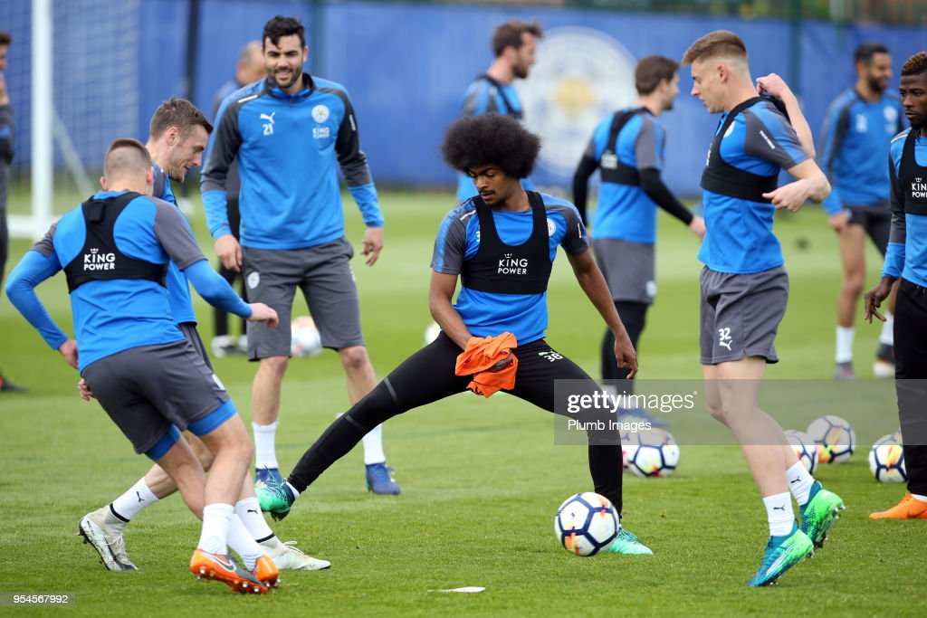 Hamza Choudhury during the Leicester City training session at Belvoir Drive Training Complex on May 04 , 2018 in Leicester, United Kingdom.