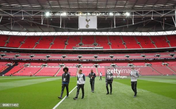 Hamza Choudhury George Thomas Layton Ndukwu Harvey Barnes and Sam Hughes of Leicester City at Wembley Stadium ahead of the Premier League match...