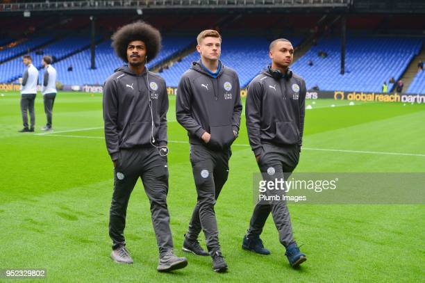 Hamza Choudhury Harvey Barnes and Layton Ndukwu of Leicester City at Selhurst Park ahead of the Premier League match between Crystal Palace and...