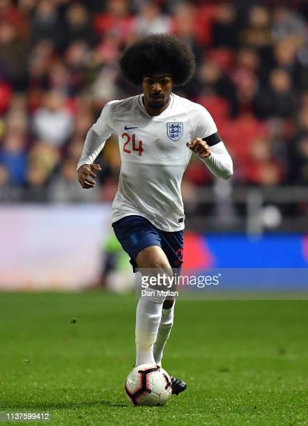 Hamza Choudhury of England controls the ball during the International Friendly match between England U21 and Poland U21 at Ashton Gate on March 21...