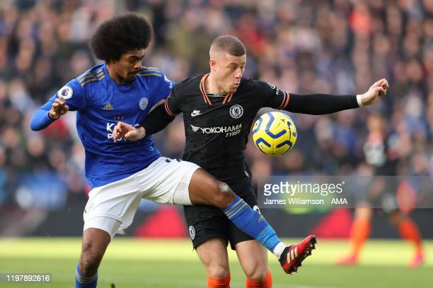 Hamza Choudhury of Leicester City and Ross Barkley of Chelsea during the Premier League match between Leicester City and Chelsea FC at The King Power...