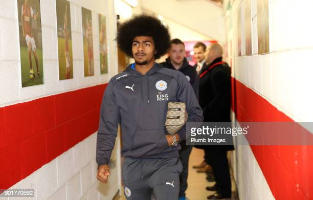 Hamza Choudhury of Leicester City arrives at Highbury Stadium ahead of the The Emirates FA Cup Third Round tie between Fleetwood Town and Leicester...