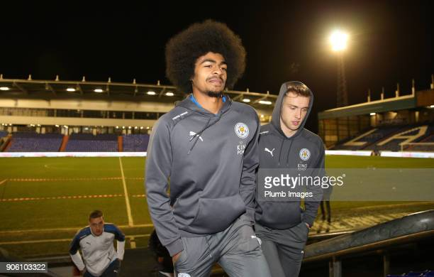 Hamza Choudhury of Leicester City at Boundary Park ahead of the Checkatrade Trophy tie between Oldham Athletic and Leicester City at Boundary Park on...