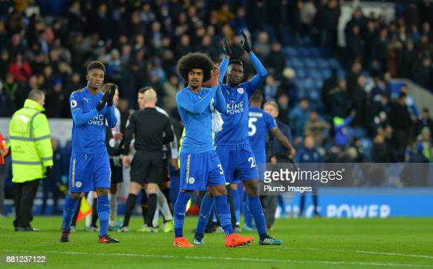 Hamza Choudhury of Leicester City celebrates after beating Tottenham Hotspur 21 during the Premier League match between Leicester City and Tottenham...