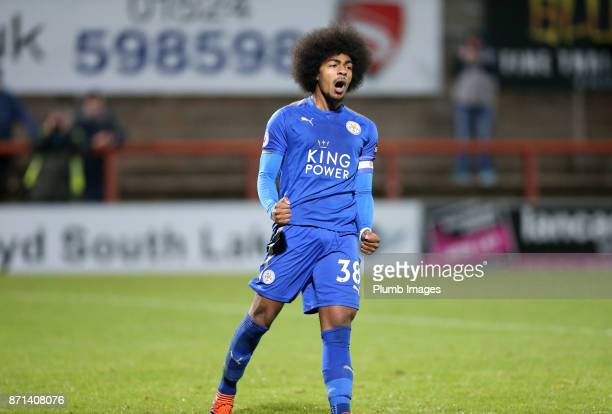 Hamza Choudhury of Leicester City celebrates scoring during the penalty shoot out during the Checkatrade Trophy tie between Morecambe and Leicester...