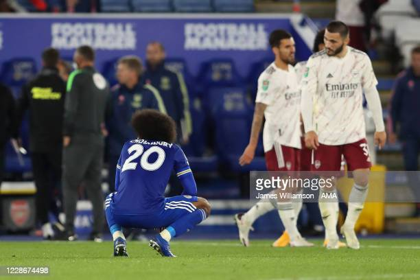 Hamza Choudhury of Leicester City dejected at full time of the Carabao Cup Third Round match between Leicester City and Arsenal at The King Power...