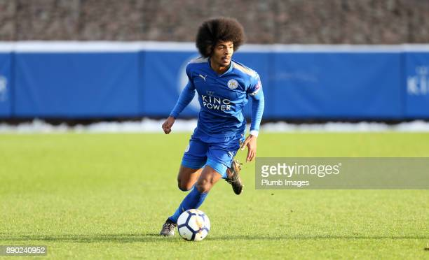 Hamza Choudhury of Leicester City during the Premier League 2 match between Leicester City and Everton at Belvoir Drive Training Ground on December...