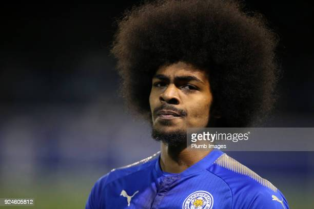 Hamza Choudhury of Leicester City during the Premier League 2 match between Leicester City and Everton at Holmes Park on February 26th 2018 in...