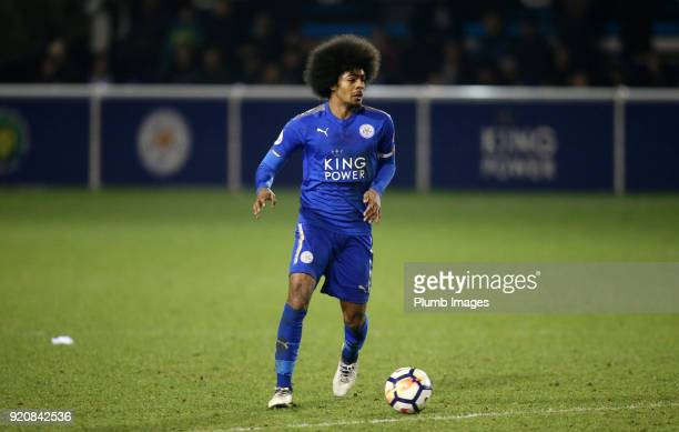 Hamza Choudhury of Leicester City in action during the Premier League 2 match between Leicester City and Arsenal at Holmes Park on February 19th 2018...