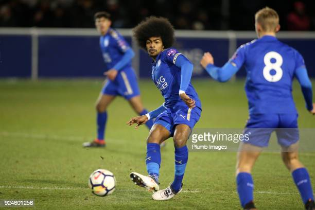 Hamza Choudhury of Leicester City in action during the Premier League 2 match between Leicester City and Everton at Holmes Park on February 26th 2018...