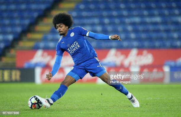 Hamza Choudhury of Leicester City in action during the Premier League 2 match between Leicester City and Liverpool at King Power Stadium on March 5th...