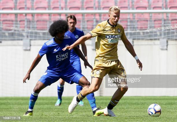 Hamza Choudhury of Leicester City in action with Antonin Barak of Udinese during the preseason friendly match between Leicester City and Udinese at...