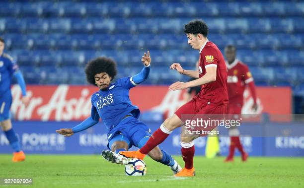 Hamza Choudhury of Leicester City in action with Curtis Jones of Liverpool during the Premier League 2 match between Leicester City and Liverpool at...