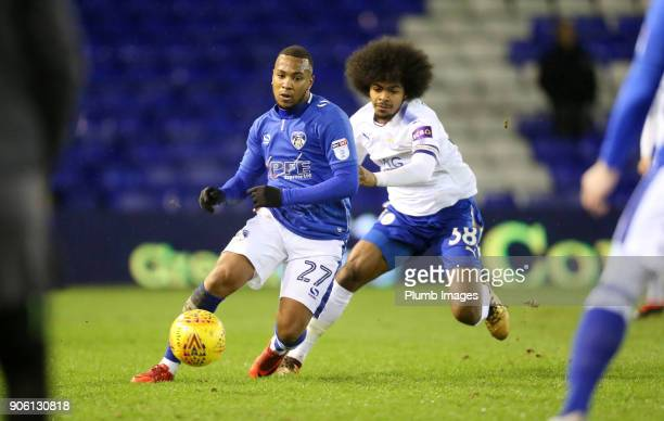 Hamza Choudhury of Leicester City in action with Gevaro Nepomuceno of Oldham Athletic during the Checkatrade Trophy tie between Oldham Athletic and...