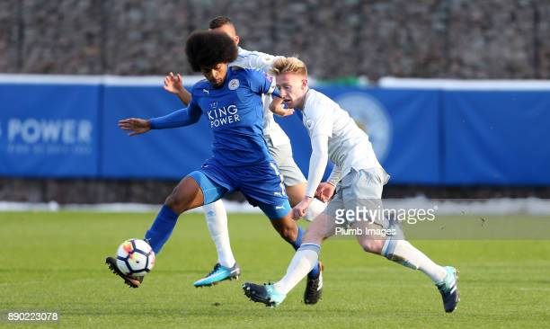 Hamza Choudhury of Leicester City in action with Harry Charsley of Everton during the Premier League 2 match between Leicester City and Everton at...