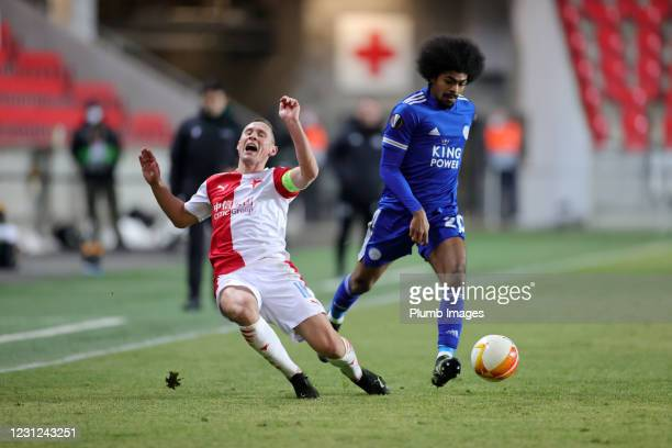 Hamza Choudhury of Leicester City in action with Jan Boil of Slavia Prague during the UEFA Europa League Round of 32 match between Slavia Prague and...