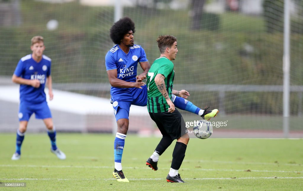 Hamza Choudhury of Leicester City in action with Josue Felipe of Akhisarspor during the pre-season friendly match between Leicester City and Akhisarspor at Stadion Villach on July 25th, 2018 in Villach, Austria.