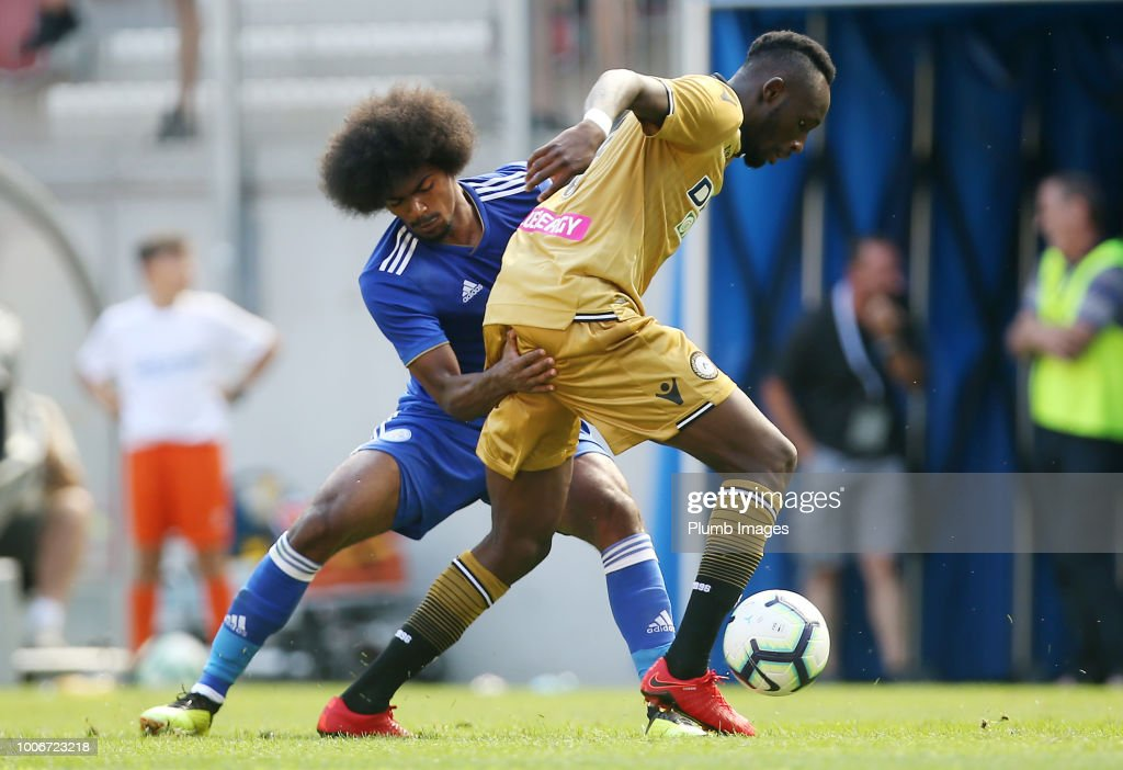 Hamza Choudhury of Leicester City in action with Seko Fofana of Udinese during the pre-season friendly match between Leicester City and Udinese at Worthersee Stadion on July 28, 2018 in Klagenfurt, Austria.