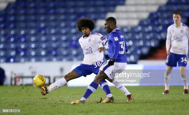 Hamza Choudhury of Leicester City in action with Tope Obadeyi of Oldham Athletic during the Checkatrade Trophy tie between Oldham Athletic and...