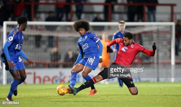 Hamza Choudhury of Leicester City in action with Vadaine Oliver of Morecambe during the Checkatrade Trophy tie between Morecambe and Leicester City...