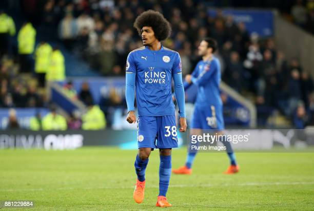 Hamza Choudhury of Leicester City looks on during the Premier League match between Leicester City and Tottenham Hotspur at King Power Stadium on...