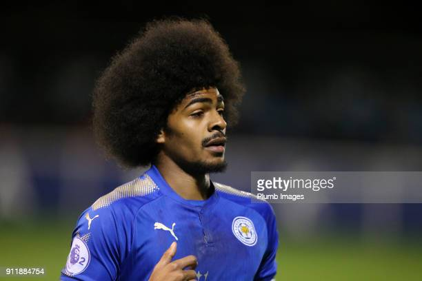 Hamza Choudhury of Leicester City looks on during the Premier League 2 match between Leicester City and Manchester City at Holmes Park on January...