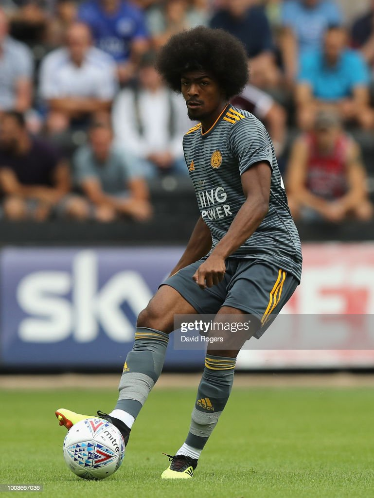 Hamza Choudhury of Leicester City passes the ball durng the pre-season friendly match between Notts County and Leicester City at Meadow Lane on July 21, 2018 in Nottingham, England.