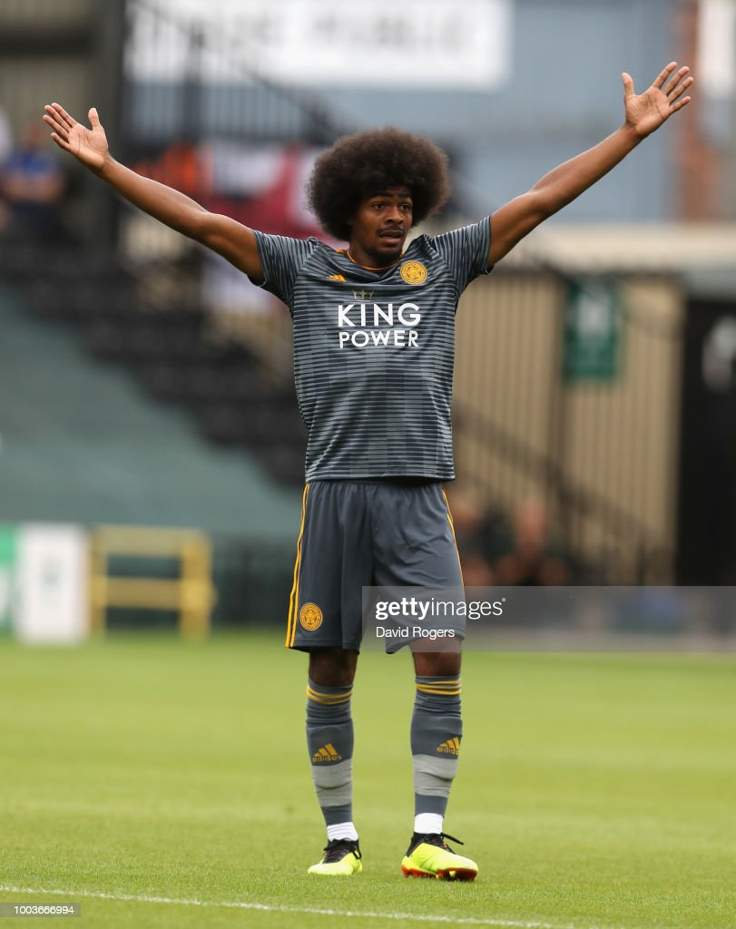 Hamza Choudhury of Leicester City shouts for the ball durng the pre-season friendly match between Notts County and Leicester City at Meadow Lane on July 21, 2018 in Nottingham, England.