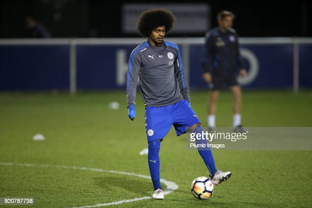 Hamza Choudhury of Leicester City warms up ahead of the Premier League 2 match between Leicester City and Arsenal at Holmes Park on February 19 2018...