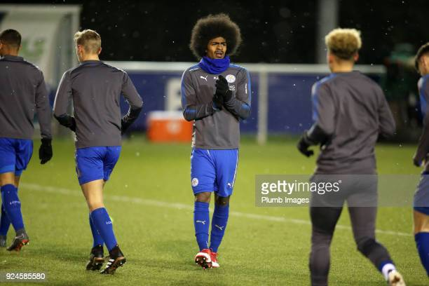 Hamza Choudhury of Leicester City warms up ahead of the Premier League 2 match between Leicester City and Everton at Holmes Park on February 26th...