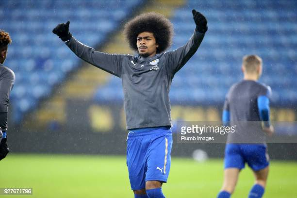 Hamza Choudhury of Leicester City warms up ahead of the Premier League 2 match between Leicester City and Liverpool at King Power Stadium on March...