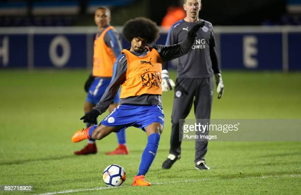 Hamza Choudhury of Leicester City warms up ahead of the Premier League International Cup tie between Leicester City and Legia Warsaw at Holmes Park...