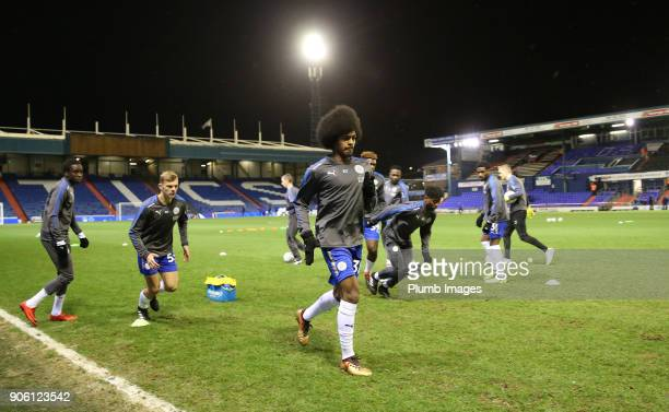 Hamza Choudhury of Leicester City warms up at Boundary Park ahead of the Checkatrade Trophy tie between Oldham Athletic and Leicester City at...