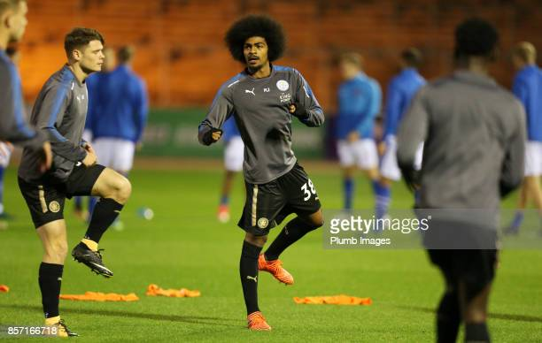 Hamza Choudhury of Leicester City warms up at Brunton Park ahead of the EFL Checkatrade Trophy tie between Carlisle United and Leicester City at...