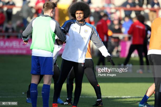 Hamza Choudhury of Leicester City warms up at Highbury Stadium ahead of The Emirates FA Cup Third Round tie between Fleetwood Town and Leicester City...