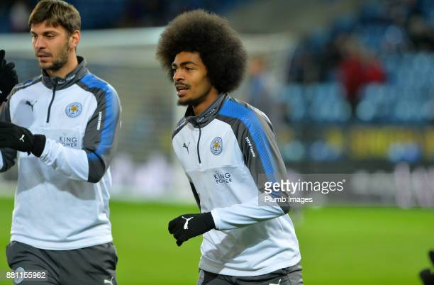 Hamza Choudhury of Leicester City warms up at King Power Stadium ahead of the Premier League match between Leicester City and Tottenham Hotspur at...