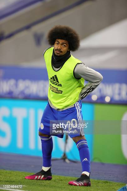 Hamza Choudhury of Leicester City warms up from the bench during the Premier League match between Leicester City and West Bromwich Albion at The King...