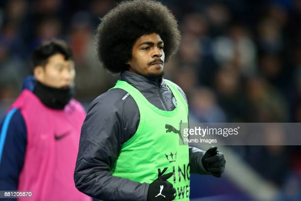 Hamza Choudhury of Leicester City warms up from the bench during the Premier League match between Leicester City and Tottenham Hotspur at King Power...