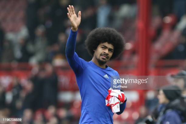 Hamza Choudhury of Leicester City waving to the away fans during the FA Cup match between Brentford and Leicester City at Griffin Park London on...