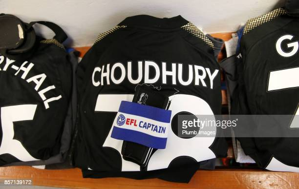 Hamza Choudhury of Leicester City's kit is laid out ahead of the EFL Checkatrade Trophy tie between Carlisle United and Leicester City at Brunton...