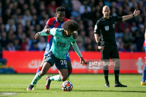 Hamza Choudhury of Leicester controls the ball during the Premier League match between Crystal Palace and Leicester City at Selhurst Park, London on...